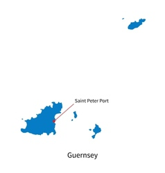 Detailed map of Guernsey and capital city Saint vector image