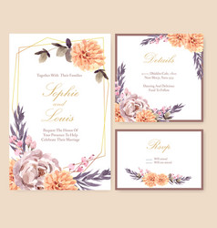 Dried floral wedding card design with rose vector