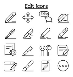 Edit icon set in thin line style vector