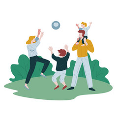 Family playing volleyball outside in park outdoor vector