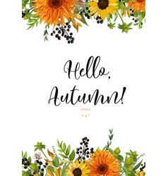 Floral watercolor card design autumn orange vector