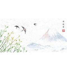 Flying swallow birds and blue mountain vector