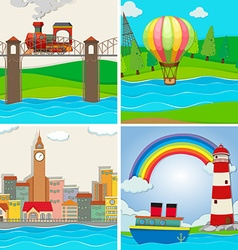 Four scenes of city and river vector