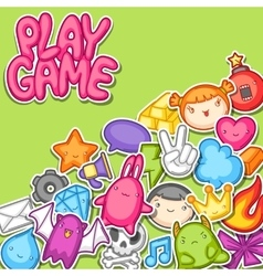 Game kawaii background Cute gaming design vector