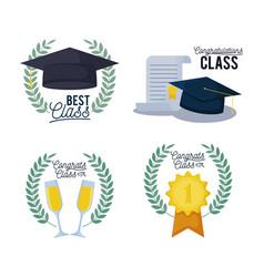 Graduation class card set icons vector
