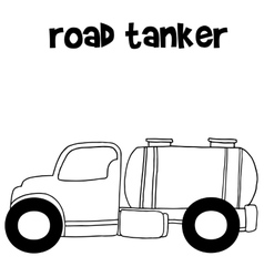 Hand draw road tanker vector