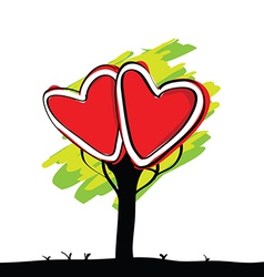 Handwriting of kid painted heart tree vector