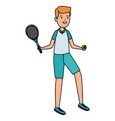 Happy athletic boy with racket practicing tennis vector