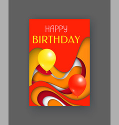 happy birthday card with greeting text abstraction vector image