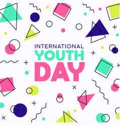 happy youth day card abstract retro 90s party vector image