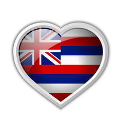 hawaiian flag heart shaped badge isolated on vector image