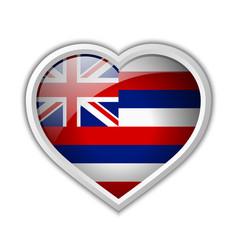 hawaiian flag heart shaped badge isolated vector image