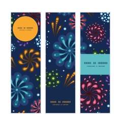 Holiday fireworks vertical banners set pattern vector