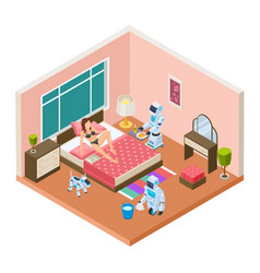 isometric household robots robots modern vector image