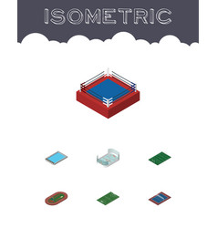Isometric lifestyle set of basin tennis run vector