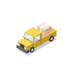 Isometric yellow wagon car with boxes minivan vector