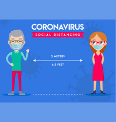 Keep distance sign coronovirus epidemic vector