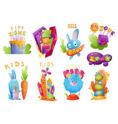 kids zones set children playground game room or vector image