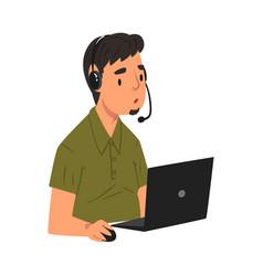 Male call center operator male support service vector