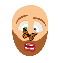 man and butterfly vector image