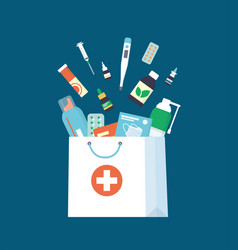 medicines drugs pills and bottles falling down vector image