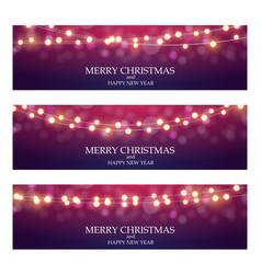merry christmas abstract light bulb garland vector image