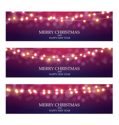 Merry christmas abstract ligth bulb garland vector