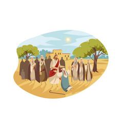 Messiah heals blind man bible concept vector