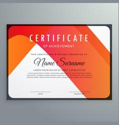 Modern orange certificate of achievement template vector