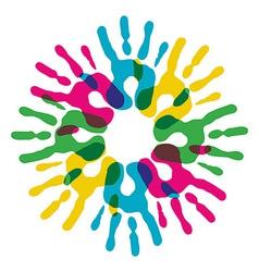 Multicolor diversity hands circle vector image