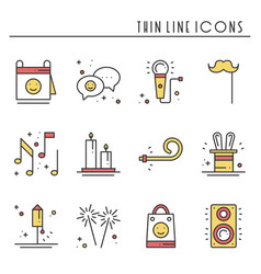 Party celebration thin line icons set birthday vector
