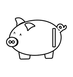 piggy save money bank line vector image