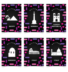 poster for travel on colorful background set two vector image vector image