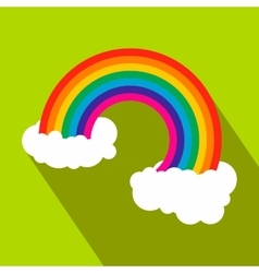 Rainbow with clouds flat icon vector