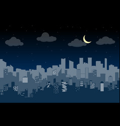 random blue city skyline on light background at vector image