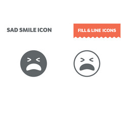 sad icon fill and line flat design ui vector image
