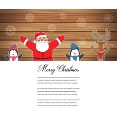 Santa Claus with Reindeer and Penguins Cartoon vector