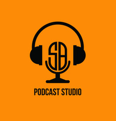 Sb monogram headphone and microphone style vector
