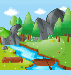 Scene with river and mountains vector