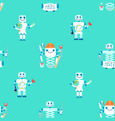 seamless pattern with robots assistent vector image