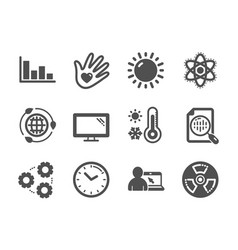 Set science icons such as gears weather vector