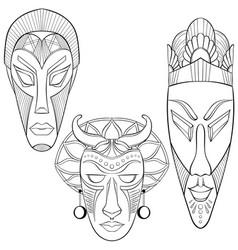 Set three african ethnic masks vector