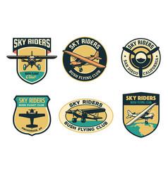 set vintage bush flying badge design vector image
