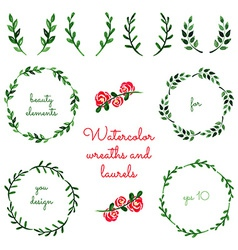 set watercolor wreaths and laurels vector image