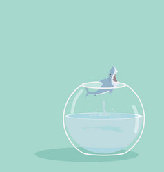 Shark jumping out of fishbowl vector