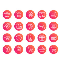 shopping line icons gifts presents and sale vector image