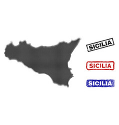 Sicilia map in halftone dot style with grunge vector