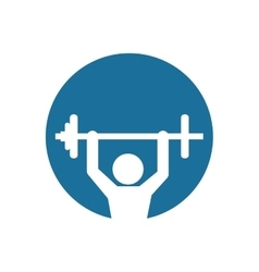 silhouette fitness man weight barbell blue vector image vector image