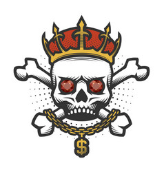 skull with a crown and a gold chain vector image