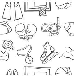 sport equipment doodles vector image